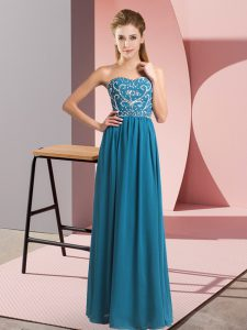 Stylish Sleeveless Lace Up Floor Length Beading Prom Dresses