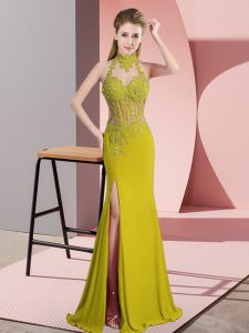 Best Green Sleeveless Lace and Appliques Floor Length