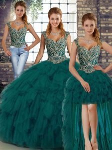 Peacock Green Organza Lace Up Straps Sleeveless Floor Length Quinceanera Dress Beading and Ruffles