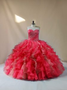 Multi-color Ball Gowns Organza Sweetheart Sleeveless Beading and Ruffles Floor Length Lace Up Sweet 16 Dresses