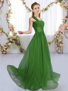 Chiffon One Shoulder Sleeveless Lace Up Ruching Wedding Guest Dresses in Green