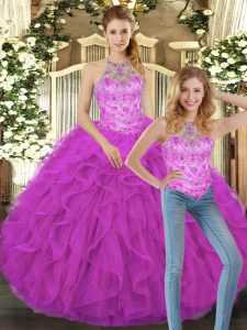 Floor Length Two Pieces Sleeveless Fuchsia Sweet 16 Dresses Lace Up