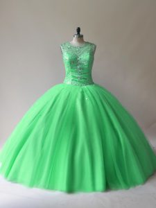 Gorgeous Tulle Scoop Sleeveless Lace Up Beading Sweet 16 Quinceanera Dress in Green