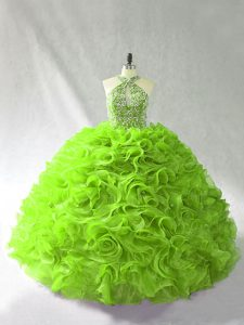 Custom Made Ball Gowns Halter Top Sleeveless Organza Floor Length Lace Up Beading and Ruffles Sweet 16 Dresses