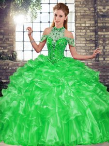 Elegant Ball Gowns Sweet 16 Quinceanera Dress Green Halter Top Organza Sleeveless Floor Length Lace Up