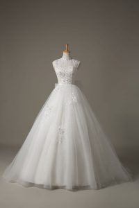 White High-neck Neckline Beading and Lace and Bowknot Wedding Dresses Sleeveless Lace Up