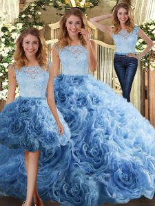 Baby Blue Sleeveless Fabric With Rolling Flowers Zipper Ball Gown Prom Dress for Military Ball and Sweet 16 and Quinceanera