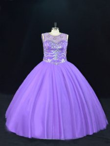 Lavender Ball Gowns Tulle Scoop Sleeveless Beading Floor Length Lace Up Sweet 16 Quinceanera Dress