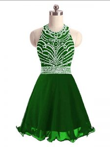 Green A-line Beading Homecoming Dress Lace Up Chiffon Sleeveless Mini Length