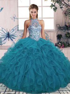 Teal Tulle Lace Up Halter Top Sleeveless Floor Length Ball Gown Prom Dress Beading and Ruffles