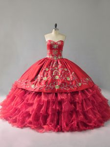Suitable Floor Length Red Sweet 16 Quinceanera Dress Organza Sleeveless Embroidery and Ruffles