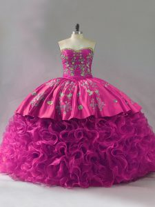 Sleeveless Embroidery and Ruffles Lace Up Quinceanera Gown