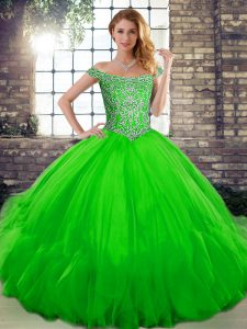 Green Tulle Lace Up Sweet 16 Dress Sleeveless Floor Length Beading and Ruffles