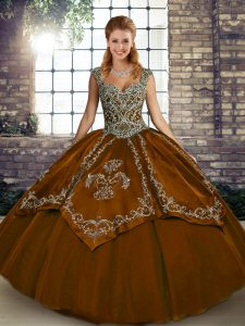 Floor Length Lace Up Quinceanera Gown Brown for Military Ball and Sweet 16 and Quinceanera with Beading and Embroidery