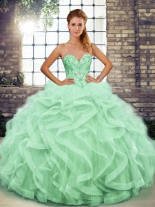 Exquisite Apple Green Sweetheart Neckline Beading and Ruffles Sweet 16 Dresses Sleeveless Lace Up