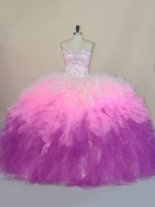 Beautiful Multi-color Vestidos de Quinceanera Sweet 16 and Quinceanera with Beading and Ruffles Sweetheart Sleeveless Brush Train Lace Up