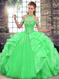 Sweet Halter Top Sleeveless Lace Up 15th Birthday Dress Green Organza