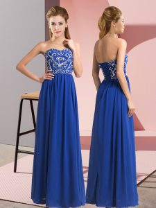 Delicate Royal Blue Sleeveless Chiffon Lace Up Pageant Dress for Womens for Prom and Party