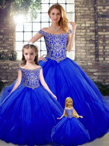 Royal Blue Tulle Lace Up Off The Shoulder Sleeveless Floor Length 15th Birthday Dress Beading and Ruffles