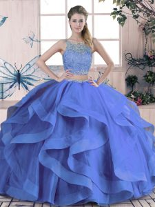 On Sale Scoop Sleeveless Lace Up Sweet 16 Quinceanera Dress Blue Tulle