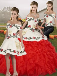 Sleeveless Floor Length Embroidery and Ruffles Lace Up 15 Quinceanera Dress with White And Red