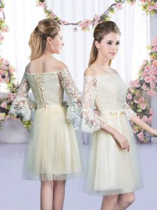 Traditional Mini Length Champagne Quinceanera Dama Dress Off The Shoulder 3 4 Length Sleeve Lace Up