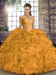 Sexy Orange Sleeveless Beading and Ruffles Floor Length 15 Quinceanera Dress