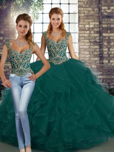 Beading and Ruffles Quinceanera Gown Peacock Green Lace Up Sleeveless Floor Length