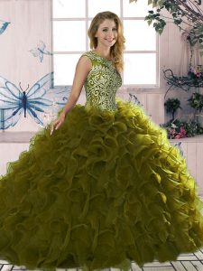 Luxurious Organza Sleeveless Floor Length Quinceanera Gown and Beading and Ruffles