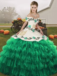 Artistic Turquoise Sleeveless Embroidery and Ruffled Layers Floor Length Quinceanera Dress