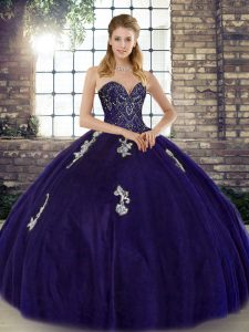 Free and Easy Ball Gowns Quinceanera Dress Purple Sweetheart Tulle Sleeveless Floor Length Lace Up