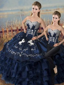 Navy Blue Lace Up Sweet 16 Dress Embroidery and Ruffles Sleeveless Floor Length