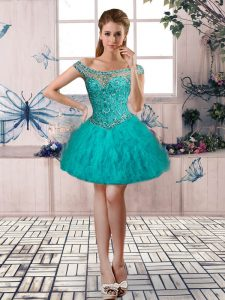 Turquoise Ball Gowns Off The Shoulder Sleeveless Tulle Mini Length Lace Up Beading and Ruffles Cocktail Dresses