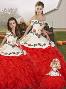 Adorable Sleeveless Embroidery and Ruffles Lace Up Sweet 16 Quinceanera Dress