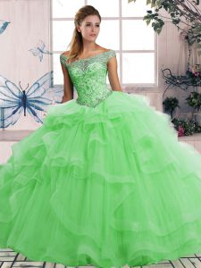 Colorful Green Off The Shoulder Lace Up Beading and Ruffles Quinceanera Gowns Sleeveless