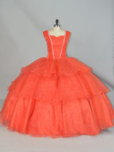 Hot Sale Ball Gowns Quinceanera Gowns Orange Red Straps Organza Sleeveless Floor Length Lace Up