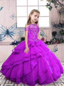 Modern Organza Sleeveless Floor Length Kids Formal Wear and Beading and Ruffled Layers