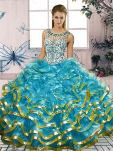 Lovely Blue Lace Up Scoop Beading and Ruffles Quinceanera Gown Organza Sleeveless