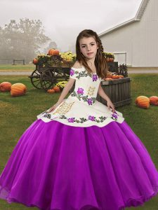 Floor Length Purple Pageant Gowns Organza Sleeveless Embroidery