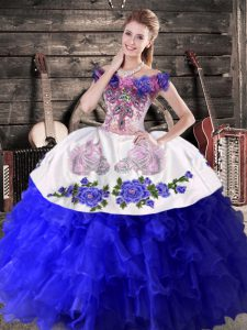 Modest Royal Blue Quinceanera Dress Sweet 16 and Quinceanera with Embroidery and Ruffles Off The Shoulder Sleeveless Lace Up