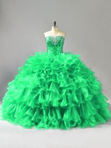 Eye-catching Green Ball Gowns Beading and Ruffles Quinceanera Gowns Lace Up Organza Sleeveless