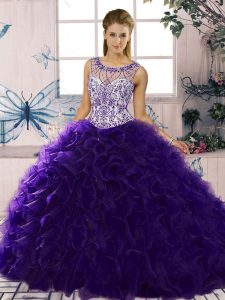 Purple Scoop Lace Up Beading and Ruffles Ball Gown Prom Dress Sleeveless