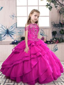 Organza Sleeveless Floor Length Winning Pageant Gowns and Beading and Ruffles