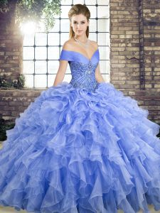 Lavender Lace Up Off The Shoulder Beading and Ruffles Ball Gown Prom Dress Organza Sleeveless Brush Train