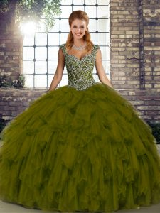 Organza Straps Sleeveless Lace Up Beading and Ruffles Quinceanera Dresses in Olive Green