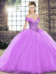 Inexpensive Off The Shoulder Sleeveless Organza Quinceanera Gown Beading Brush Train Lace Up