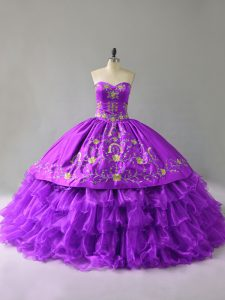 Purple Sweetheart Neckline Embroidery and Ruffles Quinceanera Gowns Sleeveless Lace Up