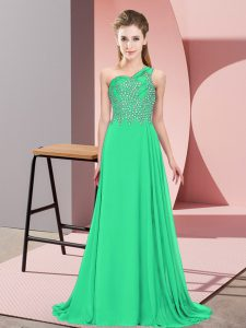 Sleeveless Chiffon Floor Length Side Zipper Homecoming Dress in Turquoise with Beading
