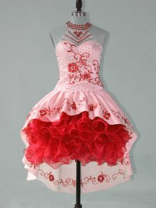 Best Selling Embroidery and Ruffles Dress for Prom Red and Pink Lace Up Sleeveless High Low