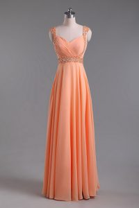 Glorious Orange Sleeveless Beading and Ruching Floor Length Pageant Gowns